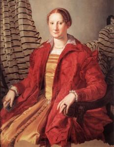 Figure 2  Yellow sottana worn with red zimarra Agnolo Bronzino, Eleonora of Toledo?, detail c.1550, Turin, Galeria Sabauda.